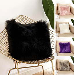 green patchwork bedding 2019 - Soft Plush Fur Pillow Cover Faux Fur Cushion Cover 45*45cm Square Decorative Throw Pillow Sofa Bed Solid Pillow Case Hom
