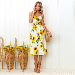 Canvas Prints Free Shipping Australia - 2019 Europe and the new sunflower pattern printing sling button backless sexy dress Beach skirt size S-3XL free shipping