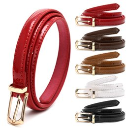 blue thin women belts Australia - Candy Color Metal Buckle Thin Casual Women , Leather Belt Female Straps Waistband For Apparel Accessories C19010301