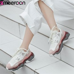 suede platform sneakers Australia - smeeroon 2019 top quality suede leather shoes women sneakers mixed colors spring autumn flat platform shoes woman casual