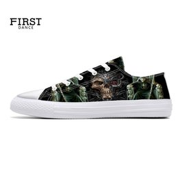 Custom Print Canvas Australia - Custom Shoes 3D Printing Women Casual Spring Shoes Sport Canvas Lightweight Flats Lace Up Jogging Sneaker Skull European Style