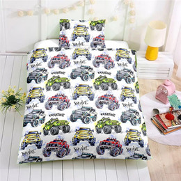 $enCountryForm.capitalKeyWord Australia - Cartoon Off-road Vehicle Printed Bedding Set Children Cute Pattern Duvet Cover Set with Pillowcase Au Eu Us Single Double Size