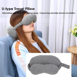 travel neck massage pillow NZ - 2 in 1 U-type Travel Pillow Comfortable Foam Cotton Eye Mask Sleep Pillow Car Airplane Neck Neck Support Cushion