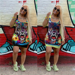 Wholesale tiger print vest for sale – custom Tiger Head Print Bodycon Dresses Women Crew Neck Tank Vest Mini Skirts Sexy Sleeveless Colorful Fashion Brand Club Party Dress Clothes C7907