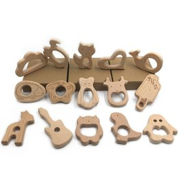 Wholesale 12pc Wooden Animal Beech Teething Wooden Teether For Pacifier Chain Rodent Tiny Rod Baby Teether Pendant Kids Koala Food Products