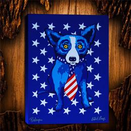 Star-Spangled Blue Dog, 1 Stück Home Decor HD gedruckt moderne Kunst Malerei auf Leinwand (ungerahmt / gerahmt) 24 x 32. im Angebot