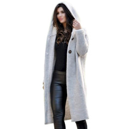 winter hooded coats UK - ISHINE Large Size Sweater Winter Cardigan Clothing Women Long Knitted Jacket Coat Thick Chic Harajuku Knit Cardigans Poncho