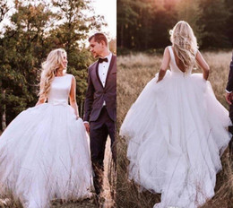 Chinese  Western Country Satin A-Line Wedding Dresses 2019 Bohemian Simple Backless Tulle Skirt Bridal Gown Plus Size with Bow Cheap robe de marriage manufacturers