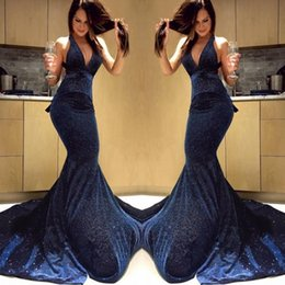 $enCountryForm.capitalKeyWord Australia - 2019 New Designed Navy Sequins Spaghetti Prom Dresses Vintage Mermaid Sweep Train Party Evening Gowns Formal Dresses Plus Size