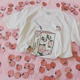 099c37425 Hahayule Peach Juice Japanses Aesthetic Grunge T-shirt Women Girls 90s  Kawaii White Tee Summer Casual Tumblr OutfitY19042002