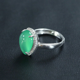 Ring Box Green Australia - S925 Silver Diamond Natural Emerald Water Drop Opening Adjustable Chinese Wind Ring for Women's Engagement and Marriage+ Box