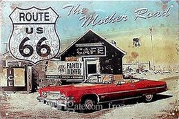 Route 66 Metal Wall Art Australia - route us 66 road king dog 20*30cm blond beauty motorbicycle Tin Sign Coffee Shop Bar Restaurant Wall Art decoration Bar Metal Paintings