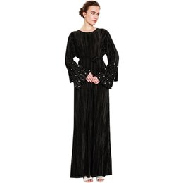 Discount xl black flare dress - Women Muslim Dress Pleated Tier Flare Sleeve Beading Waist Belt Maxi Dubai Abaya Islamic 2019 Autumn Elegant Islamic Clo