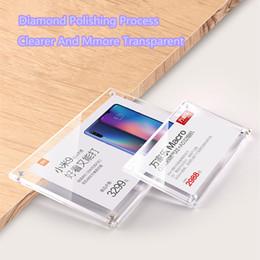 Toptan satış 90x55mm Yeni Stil Duvar Montaj Yapıştırıcı Şeffaf Akrilik Fiyat Etiket Etiketi Raf Masa Burcu Kart Kağıt Tutucu Çerçeve Ekran Standı