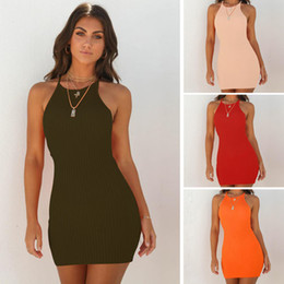 Wholesale Spring Summer Women clothes Sexy Slim Rib Knit Dresses Bodycon Slip Dress Off shoulder Bottom Hip Wrap Free DHL China manufacturer