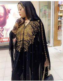 MusliM woMen clothing dubai online shopping - Plus Size African Dresses for Women Dashiki Diamond Beads African Clothes Abaya Dubai Robe Evening Long Muslim Dress Hooded Cape