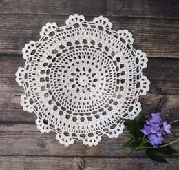 $enCountryForm.capitalKeyWord Australia - Christmas Placemats Cup Mat Mug Pad Coasters 30cm Table Mats Cotton Crochet Doily Party Place Mats Kitchen Table Round Placemat