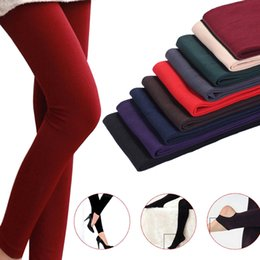 Thick fooTed leggings online shopping - Newly Women Autumn Winter Thick Warm Legging Brushed Lining Stretch Fleece Pants Tramp Feet Leggings BFE88