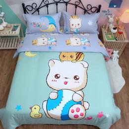 $enCountryForm.capitalKeyWord Canada - Cute bedding sets quilt cover Cartoon 100% Cotton Bed Sheet Twin Queen King Size kids Duvet Cover Set Blue bear bedclothes