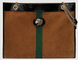 tiger tote bags 2019 - 5A 537219 45cm Rajah Large Tote,Enameled tiger head,Suede Leather with Web,Leather Trim,With Dust Bag Serial Number,Free