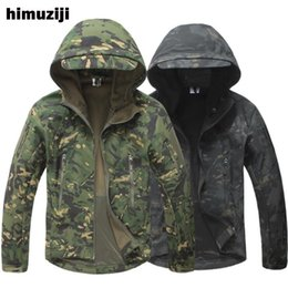 Waterproof Camouflage Clothing Australia - TAD Winter Shark Skin Jacket Windproof Tactical Softshell Coat Men Waterproof Windbreaker Hooded Army Camouflage Clothe