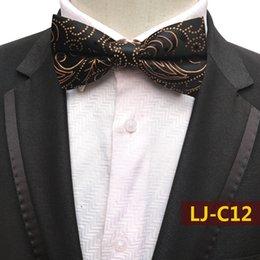 $enCountryForm.capitalKeyWord Australia - Mens Fashion Solid Color Jacquard Plaid Grid Leisure Silk Bowtie Wedding Tuxedo Shirt Bow Ties