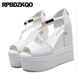 $enCountryForm.capitalKeyWord NZ - White Exotic Dancer Pumps Ankle Strap High Heels Women Wedge Platform Sandals Flatform Shoes Fetish Peep Toe Stripper Chain Sexy