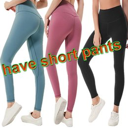 Wholesale yoga pants red grey for sale – dress LU Solid Color Women yoga pants High Waist Sports Gym Wear Leggings Elastic Fitness Lady Overall Full Tights Workout