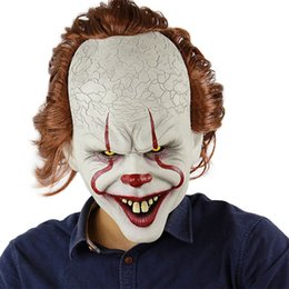 Wholesale king cosplay for sale – halloween Halloween Mask For Silicone Movie Stephen King Joker Pennywise Mask Full Face Horror Clown Latex Mask Party Cosplay Prop Masks HH9