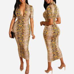 $enCountryForm.capitalKeyWord NZ - New Arrival Women's Dress Designer for Summer Luxury Snakeskin Print Long Sleeve Dress V-neck Bodycon Dress Sexy & Club Style Hot Sale