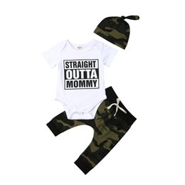 boy romper set wholesale Canada - 2019 Summer 3Pcs Clothing Sets Baby & Kids Clothing Newborn Baby Boy Camo Straight Outta Tops Romper Pants Hat Outfits Set Camouflage Casual
