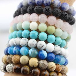 semi precious beaded bracelets NZ - 8mm Natural Stone with Crystal Pave Shambhala Ball Strech Bracelets Bangles for Women Semi-Precious Stone Handmade Beaded Elastic Bracelet