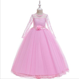 $enCountryForm.capitalKeyWord UK - 2019 New Long Lace Ball Gown Flower Girls Dresses Simple Kids Wedding Party Dress White First Communion Dresses For Girls