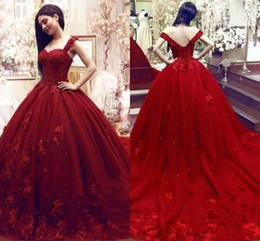 81c5cadd42b Gold color quinceanera dresses online shopping - 2019 Dark Red Ball Gown Quinceanera  Dresses Puffy Tulle