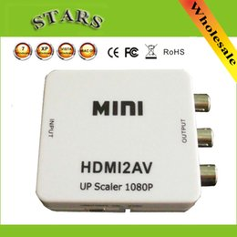 Wholesale converter box Mini HD Video Converter Box to RCA AV CVSB L R Video P AV Support NTSC PAL Output HDMI TO