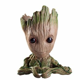 flower pot toy Australia - Baby Groot Flowerpot Flower Pot Planter Action Figures Guardians of The Galaxy Toy Tree Man Cute Model Toy Pen Pot