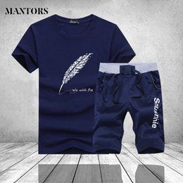 Branded Casual Suits Australia - Men Sportswear Suits for Teenagers Summer Two Pieces Printed O Neck T Shirt Shorts Set Mens Casual Tracksuit Pants Brand Clothes