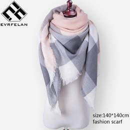 $enCountryForm.capitalKeyWord Australia - Fashion Brand Winter Scarf For Women Scarf Female Plaid Cashmere Scarf Women Warm Square Shawl and Scarves 140*140cm Wholesale
