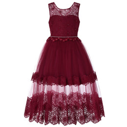 China Kids Girls Rhinestone Formal Gowns Girls Embroidered Lace Flower Pearl Tulle ball gowns Wedding Evening Dress Ruffle Party Princess Dresses supplier white wedding dress rhinestone sashes suppliers
