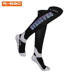 silk r NZ - R-BAO Men Women Professional Compression Running Stockings High-quality Marathon Night Run Reflective Sports Socks Cycling Socks