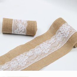 rustic burlap lace wedding Canada - B 15*240cm Natural Jute Burlap Lace Chair Sashes Jute Chair Tie Bow for Rustic Wedding Decoration WB195