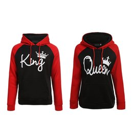 6a06a2d26 Queen King Print Hooded Long Sleeve Couple Top Fashion New Style Letter  Women T-shirt Casual Long Sleeve Shirt Women J190427