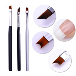 Black french tip nails online shopping - French Tip Nail Brush Silver Black Handle Half Moon Shape Acrylic Painting Drawing Pen Manicure Nail Art Tool
