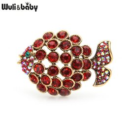 fish brooches NZ - Wuli&baby Rhinstone Fish Brooches For Women 2-color Cute Fish Animal Party Casual Brooch Pins Gifts
