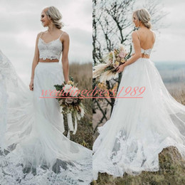 Robe maRiage piece online shopping - Sexy Two Pieces Lace Beach Wedding Dresses With Applique Outdoor Spring Backless Garden robe de mariée Bridal Gown Bride Ball Mariage