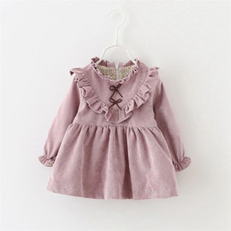 Pink Baby Tutu Australia - Autumn Winter Long Sleeved Baby Infants Girls Kids Roupas Corduroy Tutu Bow Ruffles Princess Dress Vestidos S3964 Y19061001