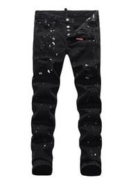 $enCountryForm.capitalKeyWord UK - Black trend hole washed whisk jeans men's slim inkjet feet denim pants new paint broken patch street gradient black button denim trousers ma