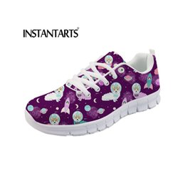 93e567c6a8b INSTANTARTS Ladies Shoes Cartoon Cute Space Dogs Printed Flats Women Shoes  Spring 2019 Casual Women s Flats Sneakers Breathable