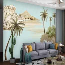 art oil painting classic 2020 - 3d hand-painted European oil painting Art wallpaper Living room TV background wall custom mural Palm tree cheap art oil