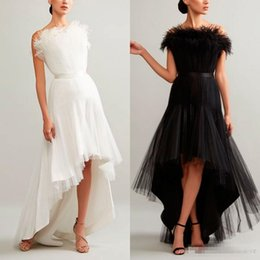 $enCountryForm.capitalKeyWord Australia - Ashi Studio 2019 Evening Dresses A Line Strapless Hi-Lo Sleeveless Lace Feather Ruffle Formal Prom Dress Arabic Special Occasion Gowns